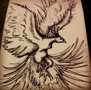 a brush pen drawing of a phoenix in flight.