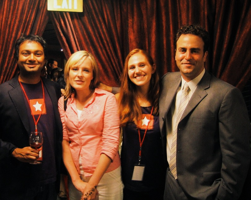 Nish (far left) wearing the first Yelp T-shirts at an event in 2005