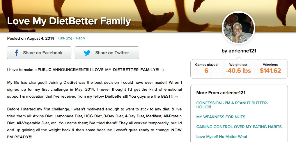 One of the blog posts from a DietBetter member who has played 6 games and lost over 40 pounds