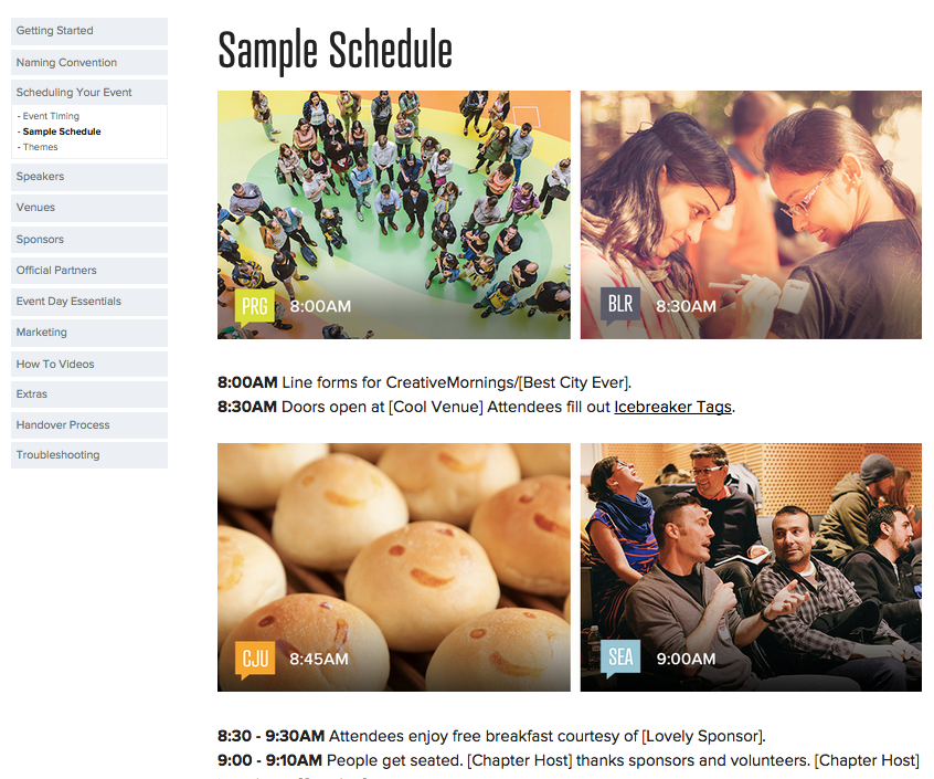 CreativeMornings Schedule Handbook