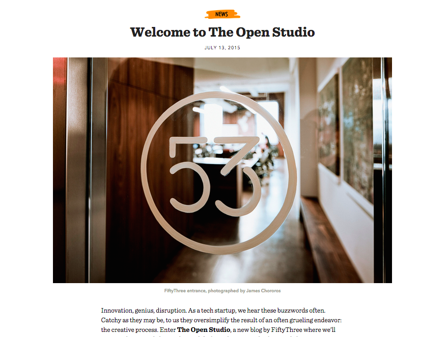 The brand new FiftyThree blog, The Open Studio