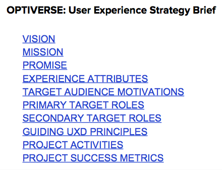 Strategy Brief Table of Contents