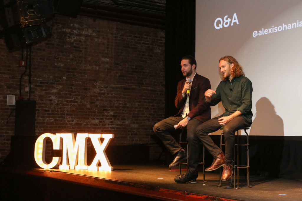 Alexis Ohanian and CMX CEO David Spinks on stage at CMX Summit East 2016