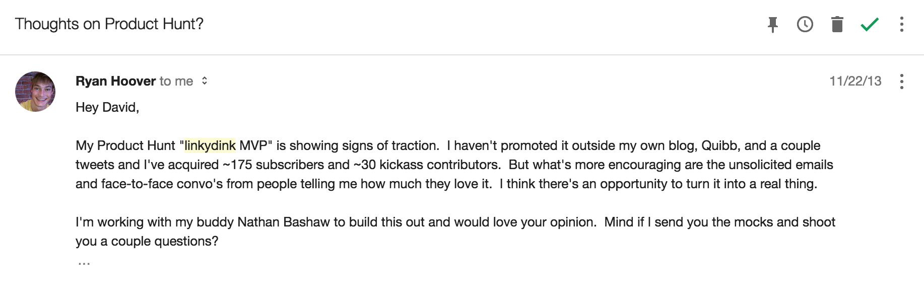 Product Hunt Feedback Email